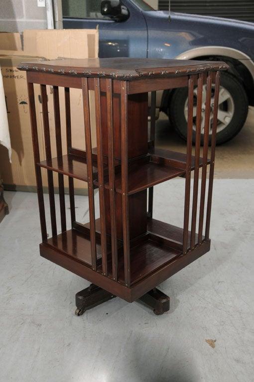 Vintage Secretary Desk >> Edwardian-Era Revolving Book Stand of Mahogany (on Casters ...