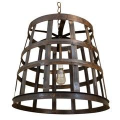 Vintage Wine Basket Chandelier