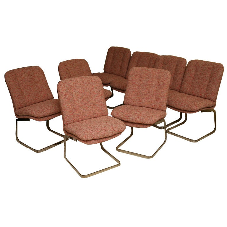 Eight Roche Bobois Cantilever Modern Dining Chairs 1