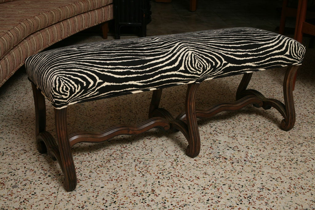 Carved Walnut French Bench In Zebra For Sale At 1stdibs