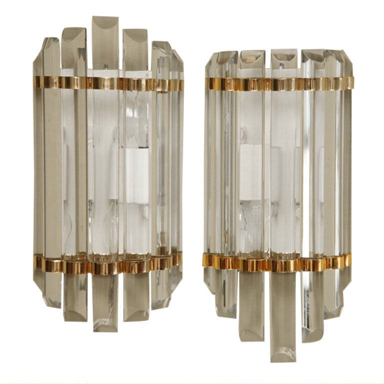 Elegant Crystal Wall Sconces : Elegant Modern Crystal Wall Sconces at 1stdibs