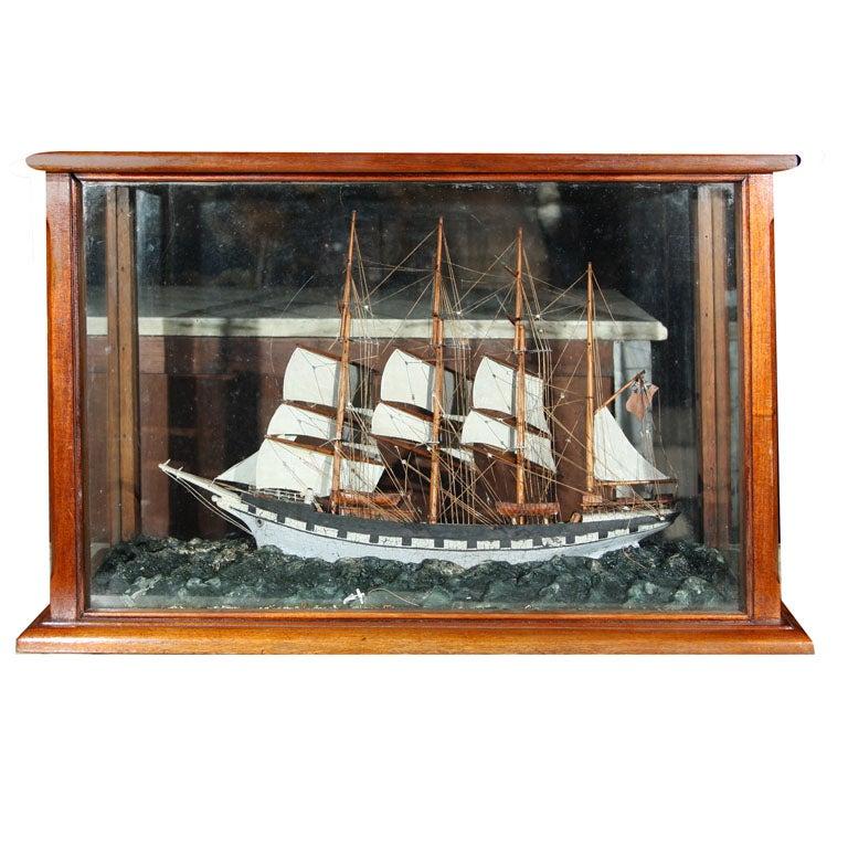 Four Masted Sailing Schooner Model in Mahogany Case