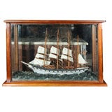 Four Masted Sailing Schooner Model in Mahogany Case