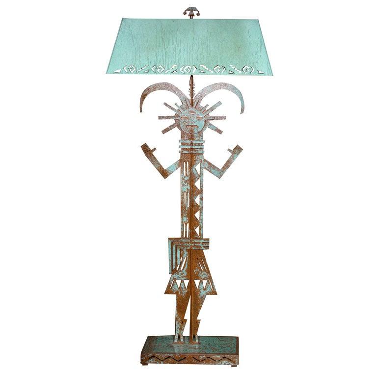 Ethnic Standing Lamp in Verdigris Copper at 1stdibs