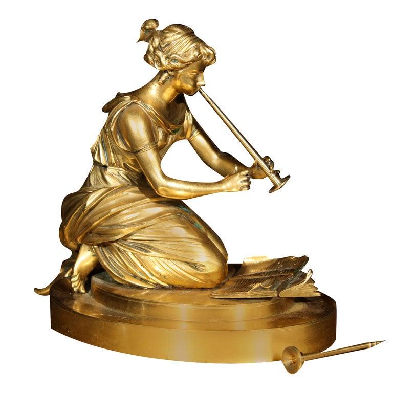 Gilt Bronze Figure of a Lady Playing a Flute Sculpture
