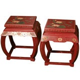 Pair of Vintage Chinese Lacquered  Coromandel Low Tables