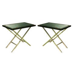 Vintage 70's Mirror and Black Glass Tables