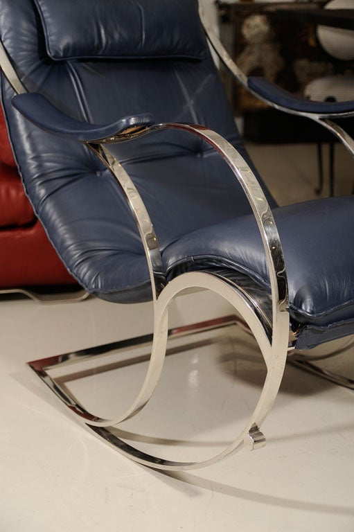 Leather and Chrome Rocking Chair 2