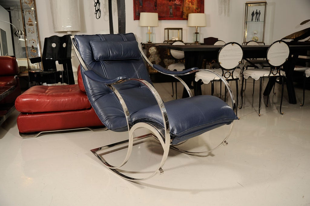 Leather and Chrome Rocking Chair 8