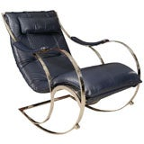 Leather and Chrome Rocking Chair