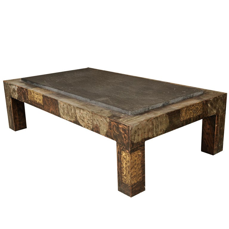 Paul evans patchwork bronze coffee table with slate top at 1stdibs Slate top coffee tables