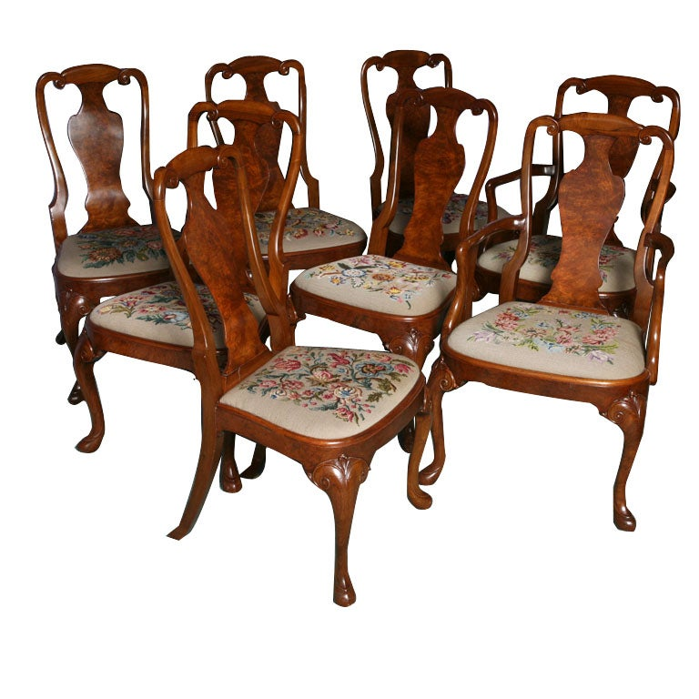 set of 8 english queen anne dining chairs at 1stdibs