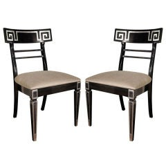 Pair of 1940's Hollywood  Side  Chairs with Greek Key Design