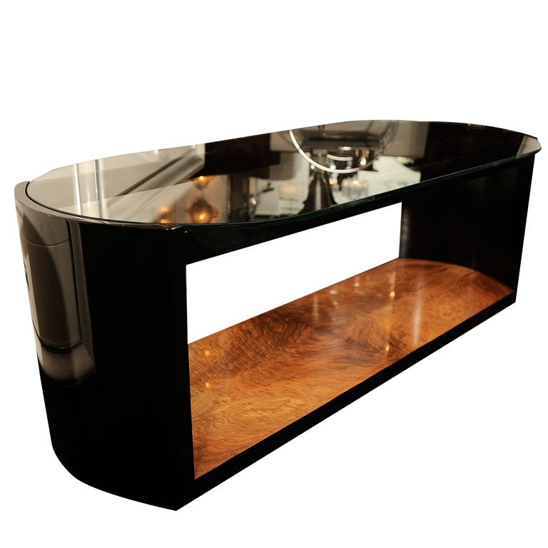 Modernage Art Deco Burled Walnut and Black Lacquer Cocktail Table at ...