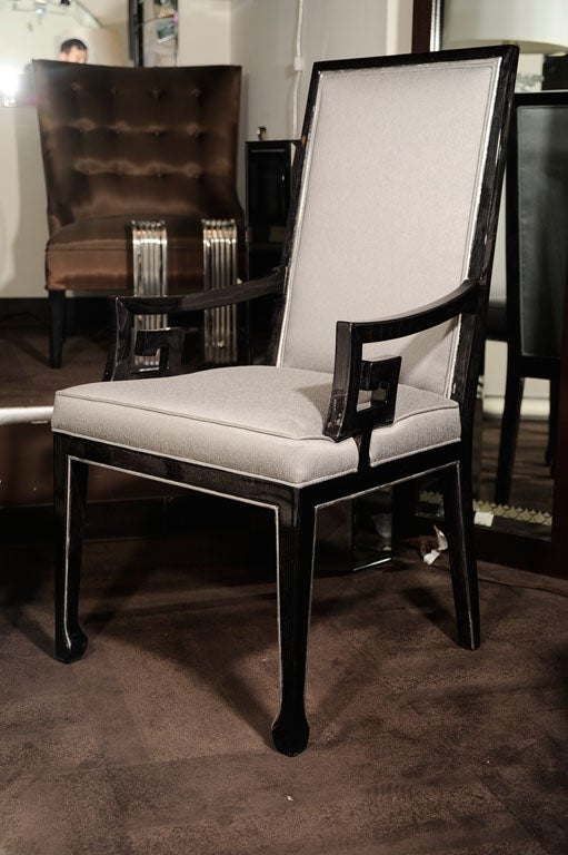 Set of six high back dining chairs with greek key design