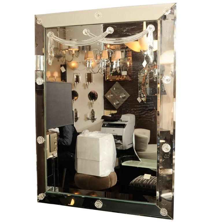 Glamorous 1940s Hollywood Shadow Box Mirror With Draped