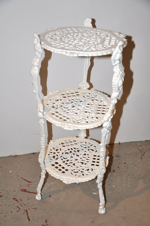 French Three Tiered Iron Plant Stand At 1stdibs