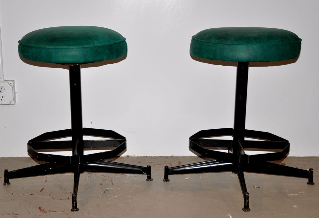 Pair of Steel Swivel Stools image 3