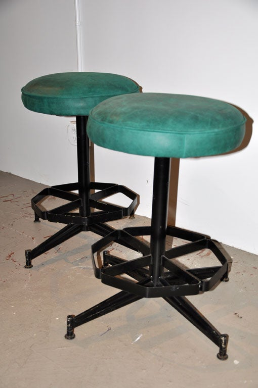 Pair of Steel Swivel Stools image 4