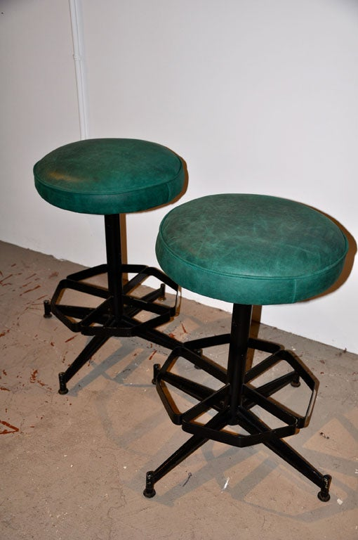 Pair of Steel Swivel Stools image 2