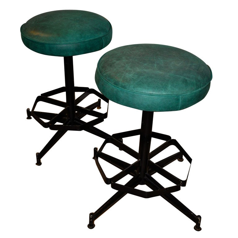Pair of Steel Swivel Stools