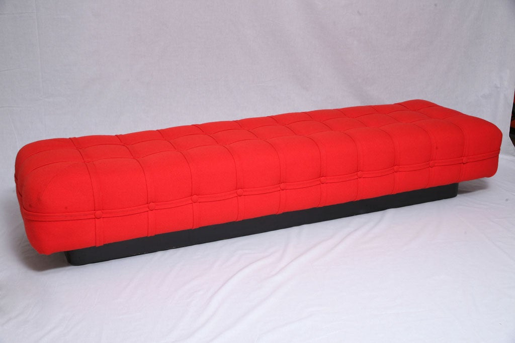 Long Red Tufted Upholstered Bench At 1stdibs