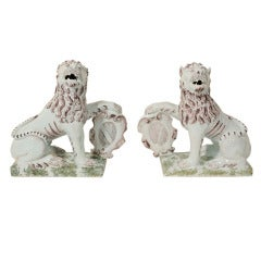 Pair of Dutch Delft Lions Sculpture