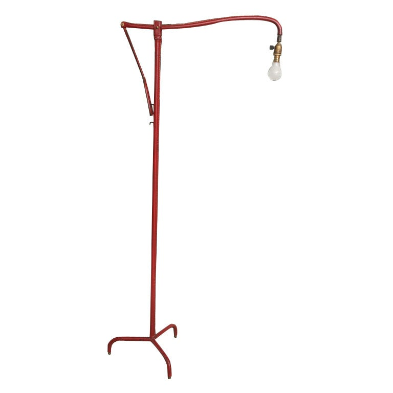 Jacques Adnet Red Leather Adjustable Floor Lamp