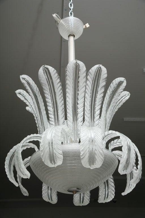 Italian Art Deco Murano  Glass Chandelier