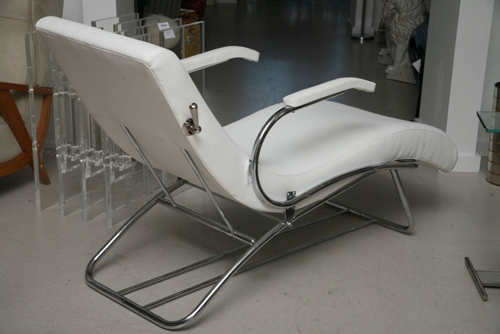 Art deco chaise lounge with white leather at 1stdibs for Art deco style chaise lounge