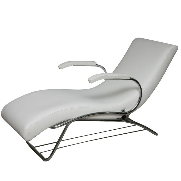 Art deco chaise lounge with white leather at 1stdibs for Art nouveau chaise lounge