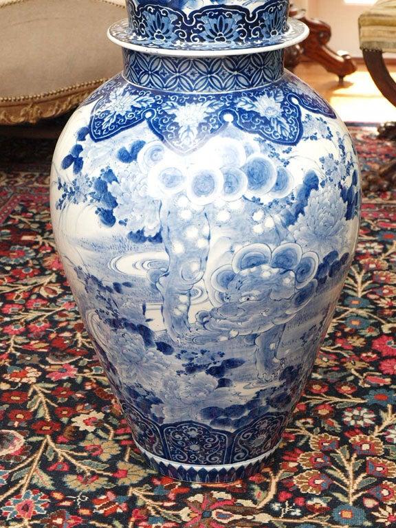 Japanese MONUMENTAL BLUE AND WHITE JAPANESE LIDDED JAR For Sale