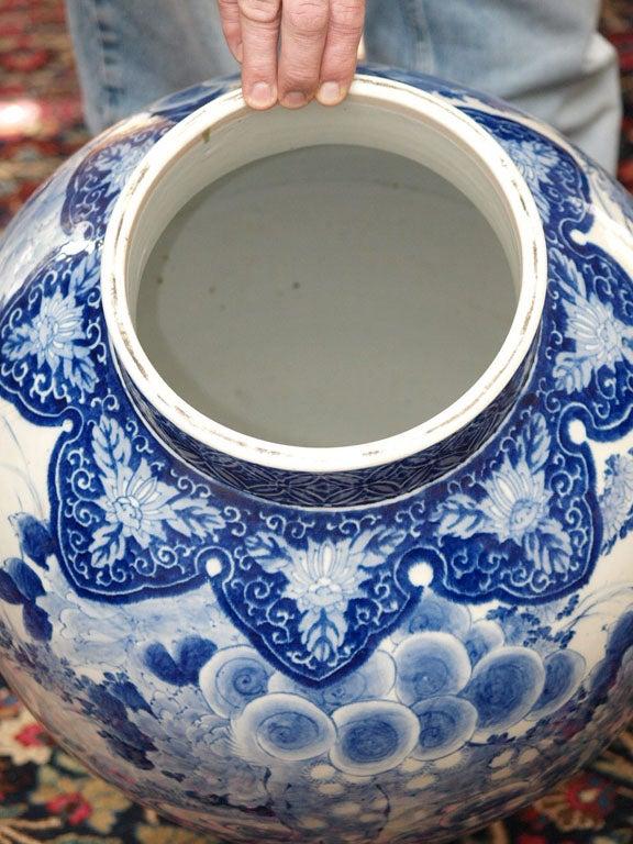 Porcelain MONUMENTAL BLUE AND WHITE JAPANESE LIDDED JAR For Sale