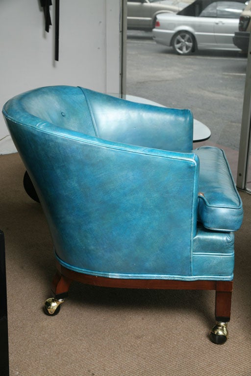Elegant Vintage Turquoise Leather Library Reading Chair 3