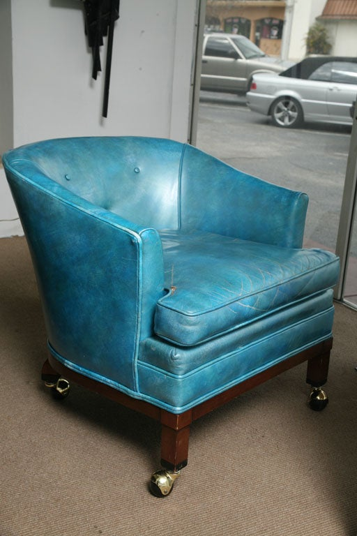Elegant Vintage Turquoise Leather Library Reading Chair At