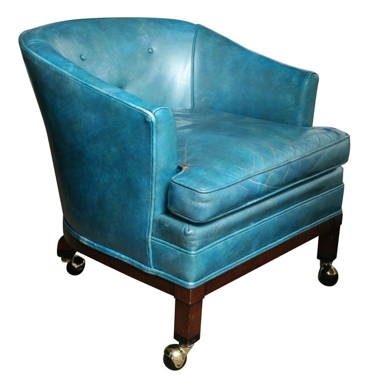 elegant vintage turquoise leather library reading chair at 1stdibs