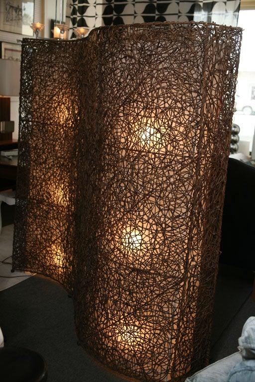 Vintage Grapevine Screen Floor Lamp Divider At 1stdibs
