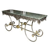 MARBLE TOP AND IRON BAKER'S TABLE