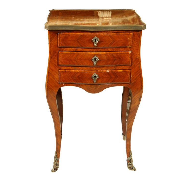 MARQUETRY  3 DRAWER SIDE TABLE