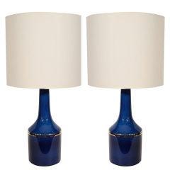 Pair of Cobalt Blue Glass Lamps