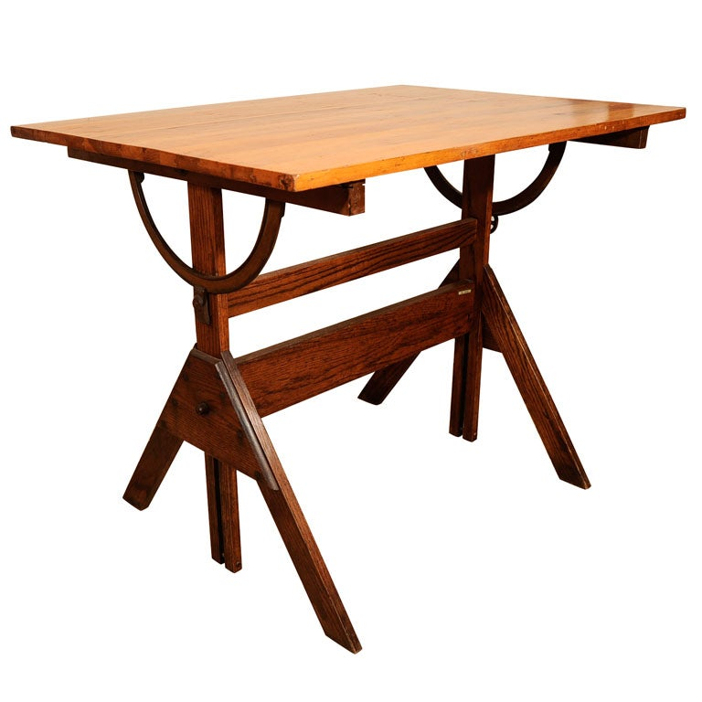 Wood Drafting Table At 1stdibs