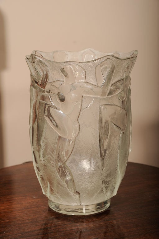 deco glass vase by verrerie degue david gueron for sale at 1stdibs