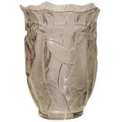 Art Deco Glass Vase by Verrerie Degue, David Gueron