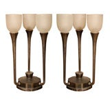 Pair of Art Deco Three-Light Table Lamps by J. Codure