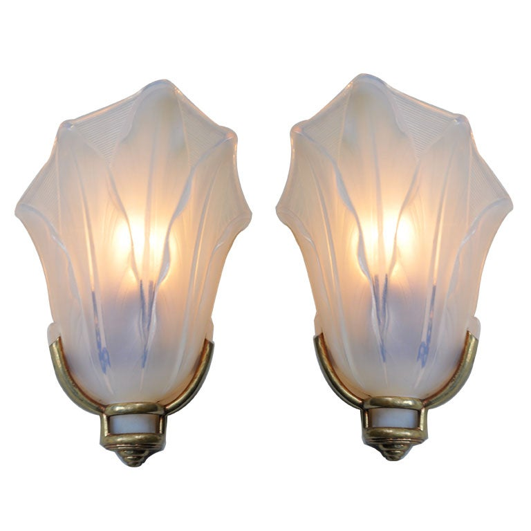 Pair of Brass and Opaline Glass Sconces