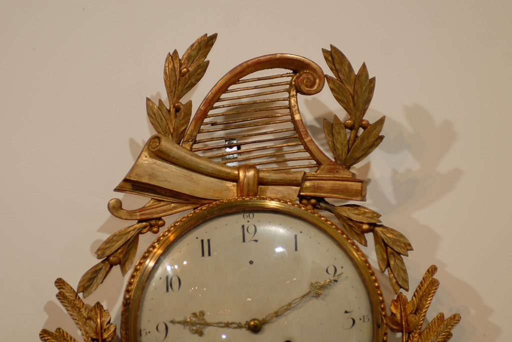 18th Century and Earlier 18th Century Swedish Giltwood Cartel Clock For Sale