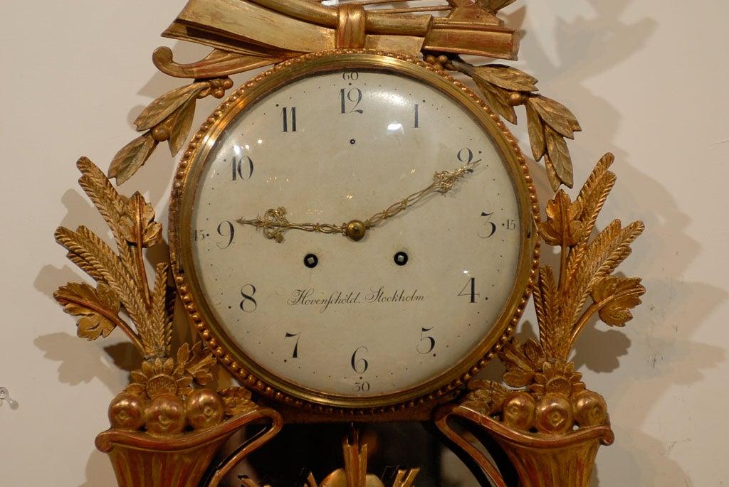 18th Century Swedish Giltwood Cartel Clock For Sale 1