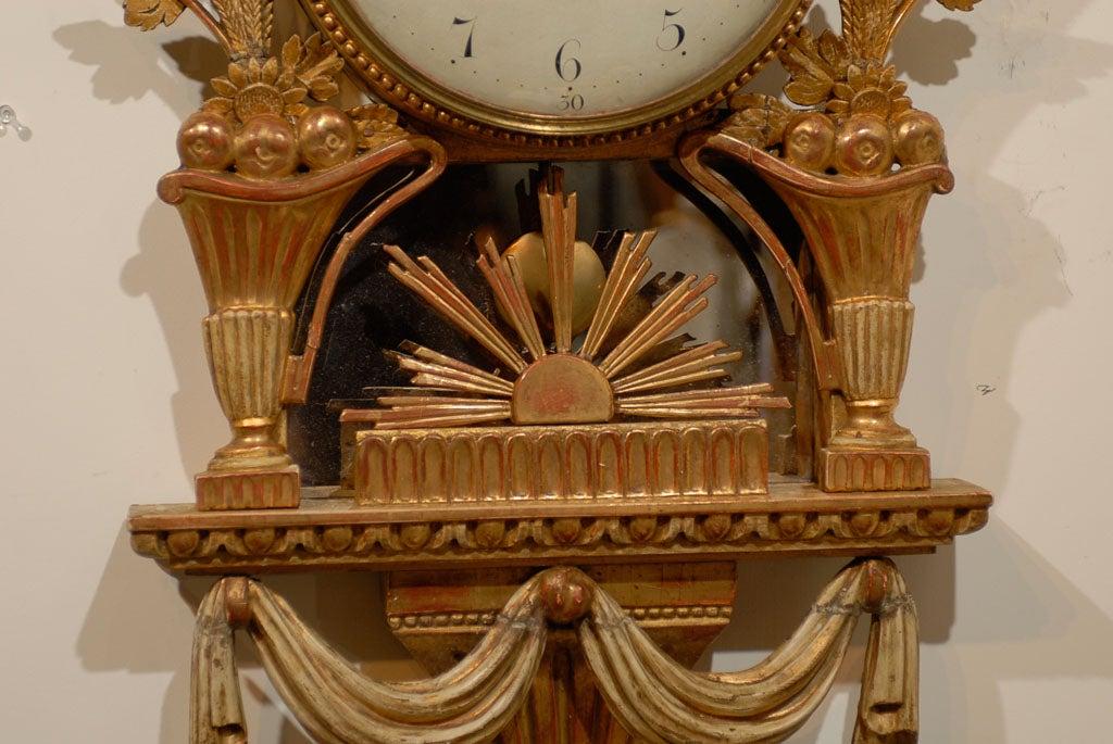 18th Century Swedish Giltwood Cartel Clock For Sale 2