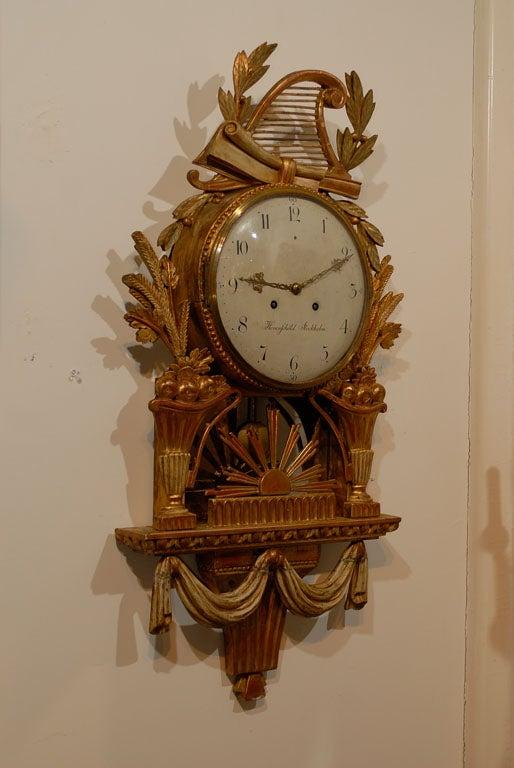 18th Century Swedish Giltwood Cartel Clock For Sale 4