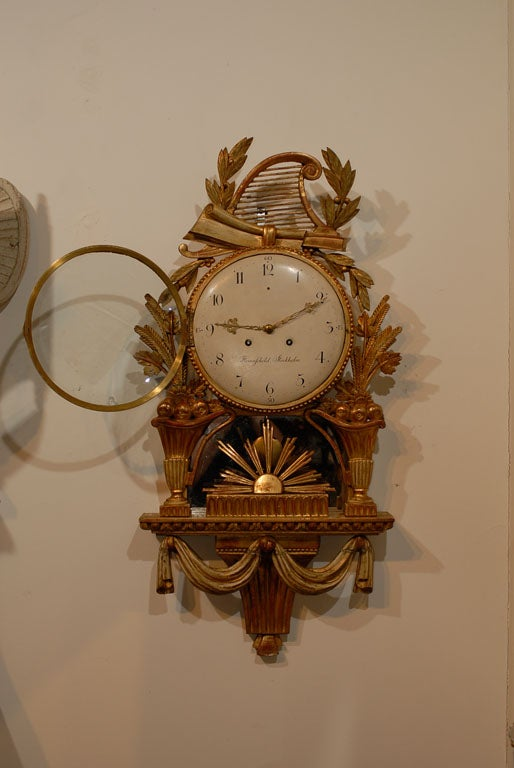 18th Century Swedish Giltwood Cartel Clock For Sale 5